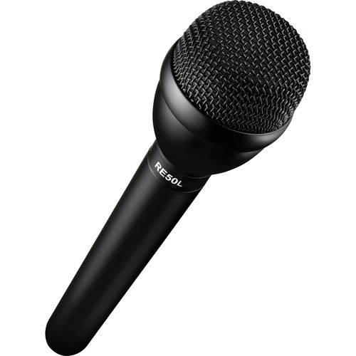 Electro-Voice RE50L Omnidirectional Broadcast Microphone with Auray Mic Flag Kit (Black)