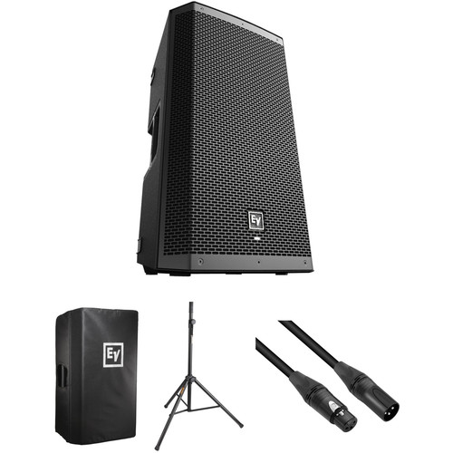 Electro-Voice ZLX-12P-US Powered Speaker Kit with Padded Cover, Stand and Cable