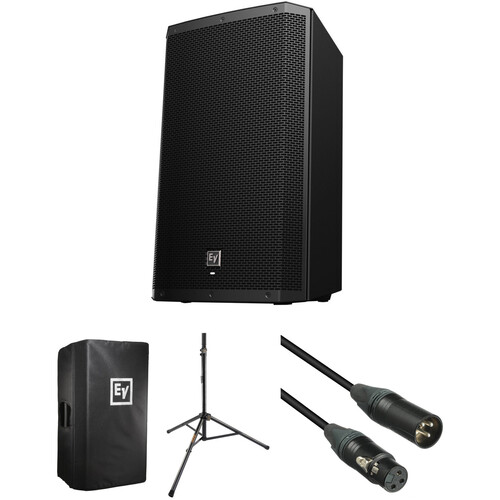 Electro-Voice ZLX-15P-US Powered Speaker Kit with Padded Cover, Stand, and Cable