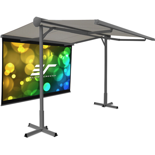 """Elite Screens Yard Master Awning 11 x 10' W/ 100"""" 16:9 DIY Indoor Outdoor Front Projection Screen (Max White B)"""