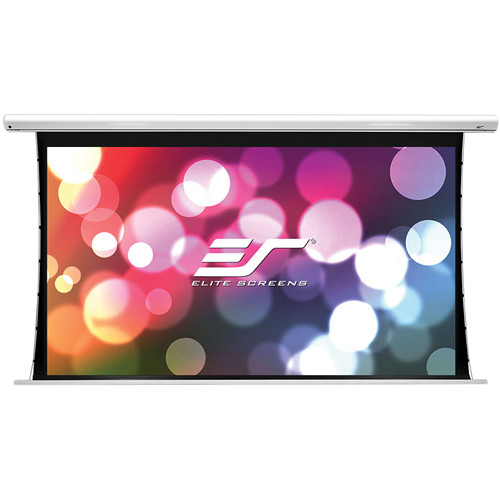 "Elite Screens Saker Tab-Tension Series 63.6 x 101.8"" 16:10 Screen with MaxWhite Fiberglass Surface"