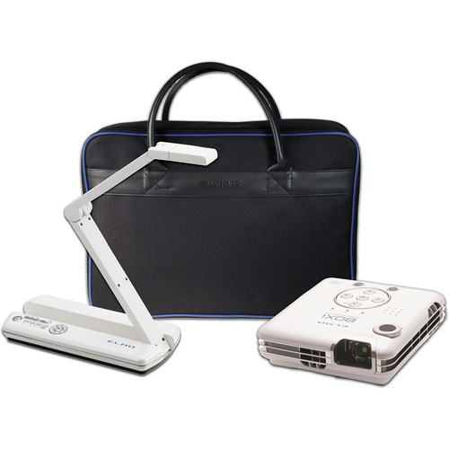 Elmo POG Wireless Bundle: MO-1w Wireless Visual Presenter with VPR-2 Wireless Receiver, BOXi MP-350 Projector, & Soft Case