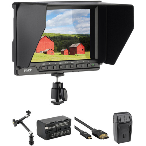 """Elvid 7"""" 4K On-Camera Monitor with Battery, Articulating Arm, and HDMI Cable Kit"""