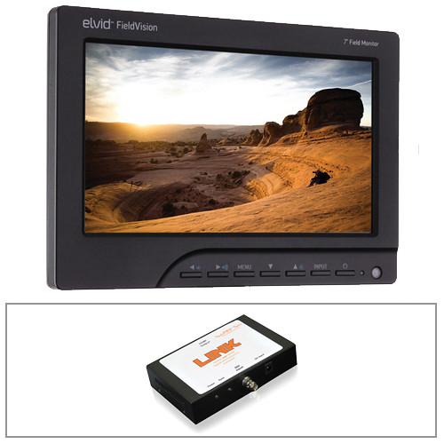 "Elvid FieldVision 7"" Monitor, Sony L & M Power, and SDI to HDMI 60Hz Converter Kit"
