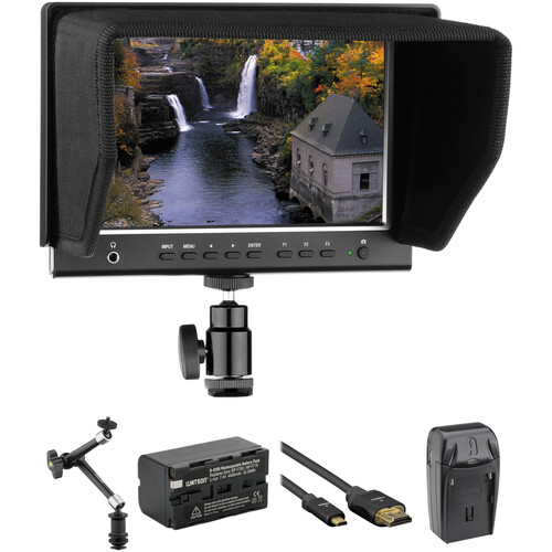 """Elvid RigVision 7"""" On-Camera Monitor with Battery, Articulating Arm & HDMI Cable Kit"""