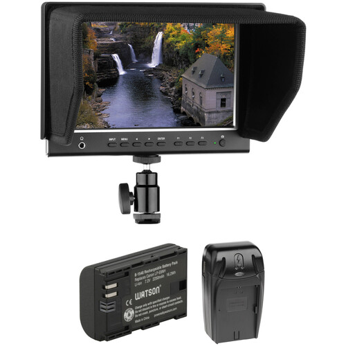 """Elvid 7"""" RigVision On-Camera Monitor with Battery & Charger Kit"""