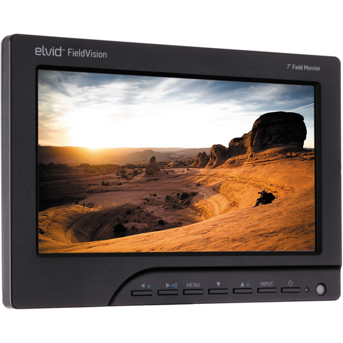 """Elvid FieldVision 7"""" On-Camera Monitor with Nikon EN-EL3e Battery Plate and Charger"""