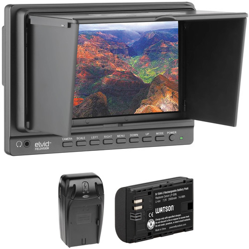 """Elvid FieldVision 7"""" On-Camera Monitor with Battery & Charger Kit"""