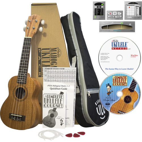 eMedia Music Mahogany Ukulele Pack Soprano Ukulele with Gig Bag, Accessories, and Instructional Materials