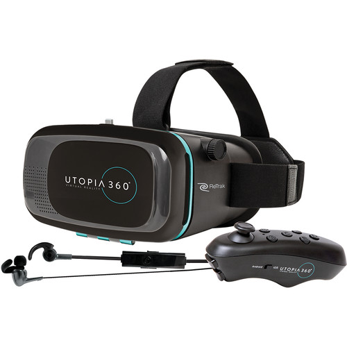 Emerge Technologies Utopia 360 Virtual Reality Smartphone Headset with Bluetooth Remote/Earbuds
