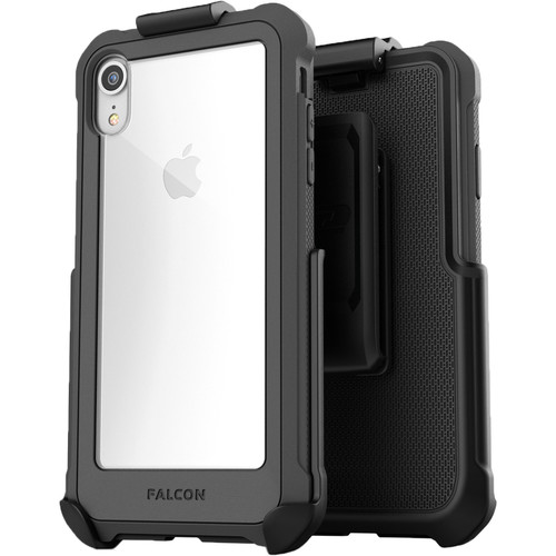 Encased Falcon Case with Belt Clip Holster for iPhone XR (Gray/Clear)
