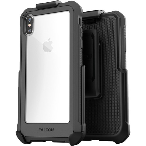 Encased Falcon Case with Belt Clip Holster for iPhone XS Max (Gray/Clear)