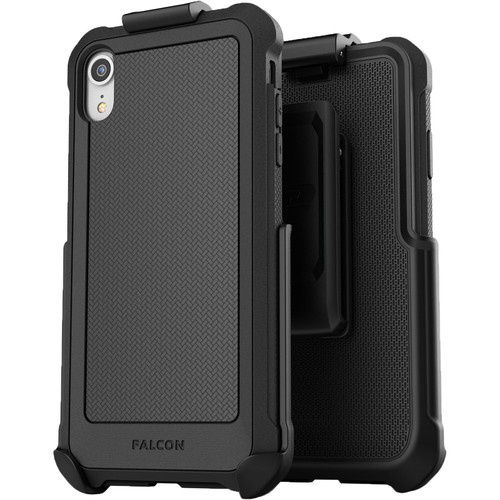 Encased Falcon Case with Belt Clip Holster for iPhone XR (Black)