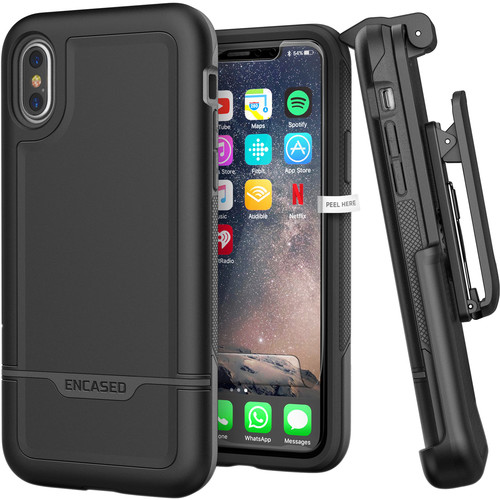 Encased Rebel Series Case with Belt Clip Holster for iPhone X/XS