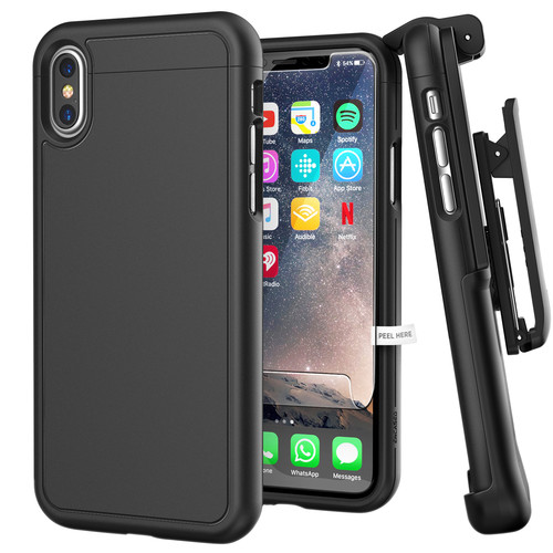 Encased SlimShield Case with Holster for iPhone X/Xs (Black)