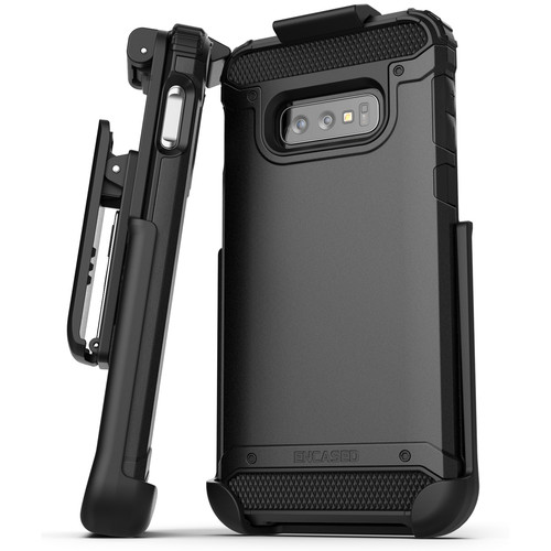 Encased Scorpio Series Case with Belt Clip Holster for Samsung Galaxy S10e (Black)