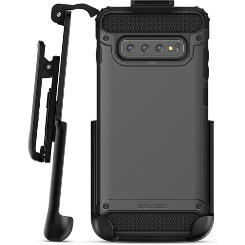 Encased Scorpio Series Case with Belt Clip Holster for Samsung Galaxy S10 (Black)