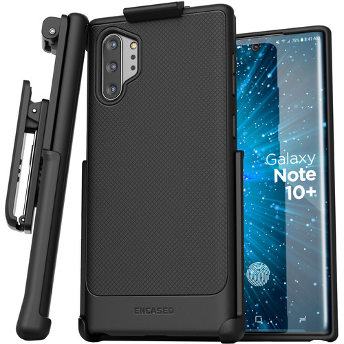 Encased Thin Armor Series Case with Belt Clip Holster for Samsung Galaxy Note10+ (Black)
