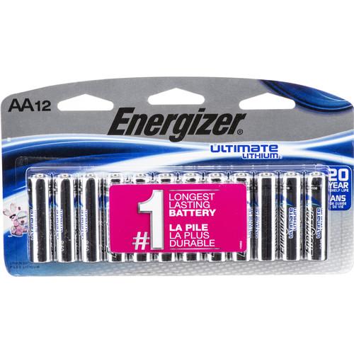 Energizer Ultimate Lithium AA Batteries (1.5V, 3500mAh, 12-Pack)