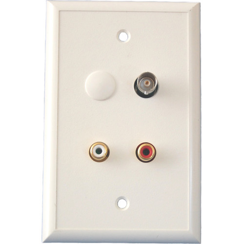 Energy Transformation Systems Baseband Video BNC & Stereo RCA Input Wall Plate (Ivory)