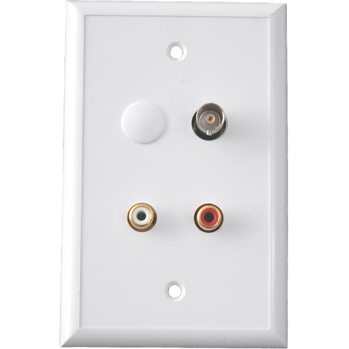 Energy Transformation Systems Baseband Video BNC & Stereo RCA Input Wall Plate (White)