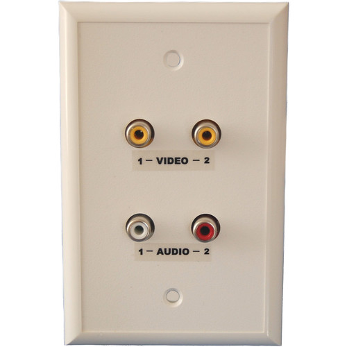 Energy Transformation Systems Dual RCA Baseband Video & Stereo Audio Wall Plate (Ivory)