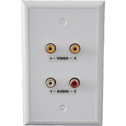 Energy Transformation Systems Dual RCA Baseband Video & Stereo Audio Wall Plate (White)