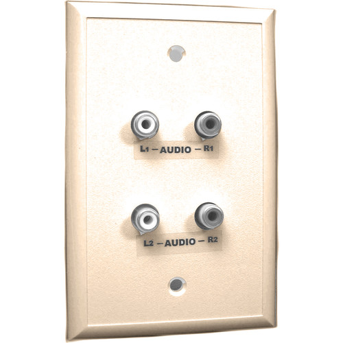 Energy Transformation Systems Analog Audio Adapter Wall Plate with 4x RCA Inputs (Ivory)