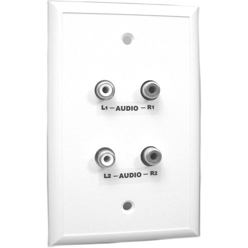 Energy Transformation Systems Analog Audio Adapter Wall Plate with 4x RCA Inputs (White)