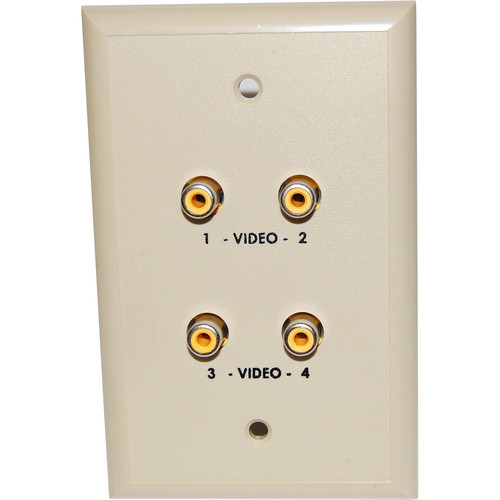 Energy Transformation Systems Extended Baseband Video Wall Plate with 4x RCA Inputs (Ivory)