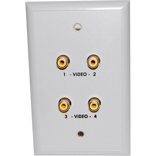 Energy Transformation Systems Extended Baseband Video Wall Plate with 4x RCA Inputs (White)