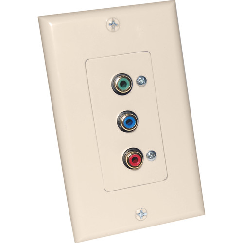 Energy Transformation Systems Component Video Decora Wall Plate with 3x RCA Inputs (Ivory)
