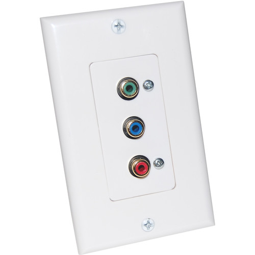 Energy Transformation Systems Component Video Decora Wall Plate with 3x RCA Inputs (White)