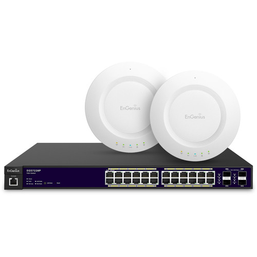 EnGenius 24-Port Gigabit PoE+ L2 Managed Switch Kit with Two N600 Indoor, Ceiling Mount Access Points