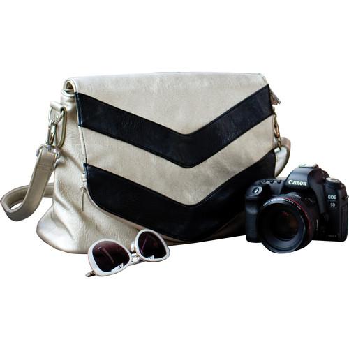 Epiphanie Charlotte Shoulder Bag (Metallic Chevron with Gray Interior)