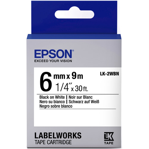 "Epson LabelWorks Standard LK Tape Black on White Cartridge (1/4"" x 30')"