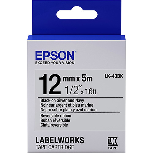 "Epson LabelWorks Reversible Ribbon LK Tape Black on Silver & Navy Cartridge (1/2"" x 16')"