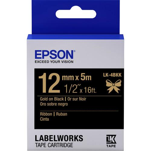 "Epson LabelWorks Ribbon LK Tape Gold on Black Cartridge (1/2"" x 16')"