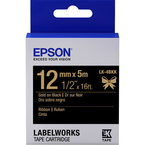 "Epson LabelWorks Ribbon LK Tape Gold on Black Cartridge (1/2"" x 16')"