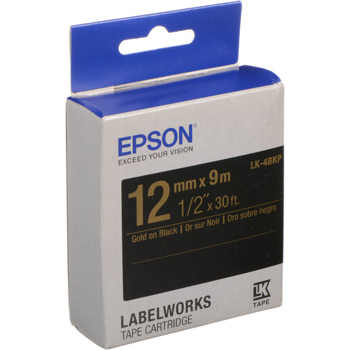 "Epson LabelWorks Standard LK Tape Gold on Black Cartridge (1/2"" x 30')"