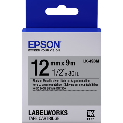 "Epson LabelWorks Metallic LK Tape Black on Metallic Silver Cartridge (1/2"" x 30')"