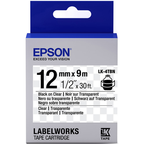 """Epson LabelWorks Clear LK Tape Black on Clear Cartridge (1/2"""" x 30')"""