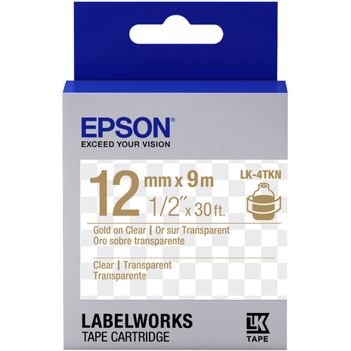 """Epson LabelWorks Clear LK Tape Gold on Clear Cartridge (1/2"""" x 30')"""
