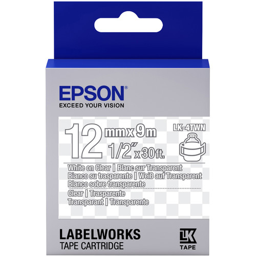 """Epson LabelWorks Clear LK Tape White on Clear Cartridge (1/2"""" x 30')"""