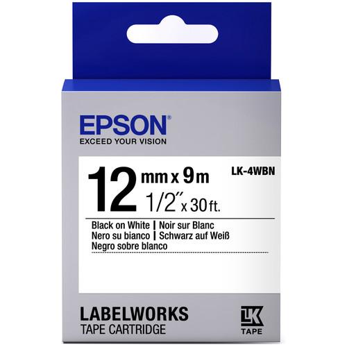 "Epson LabelWorks Standard LK Tape Black on White Cartridge (1/2"" x 30')"