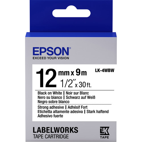 "Epson LabelWorks Strong Adhesive LK Tape Black on White Cartridge (1/2"" x 30')"