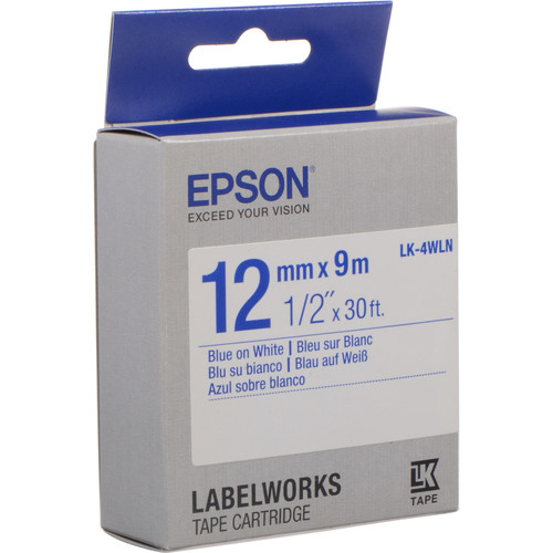 "Epson LabelWorks Standard LK Tape Blue on White Cartridge (1/2"" x 30')"