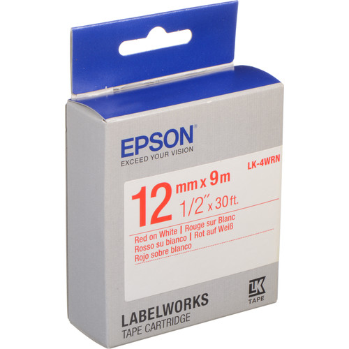 """Epson LabelWorks Standard LK Tape Red on White Cartridge (1/2"""" x 30')"""
