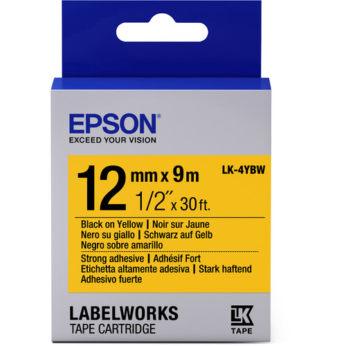 """Epson LabelWorks Strong Adhesive LK Tape Black on Yellow Cartridge (1/2"""" x 30')"""