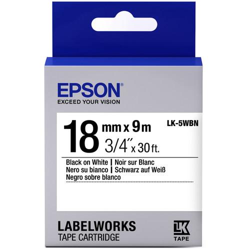 "Epson LabelWorks Standard LK Tape Black on White Cartridge (3/4"" x 16')"